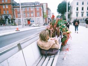 Homeless rests on Rosie Hackett bridge